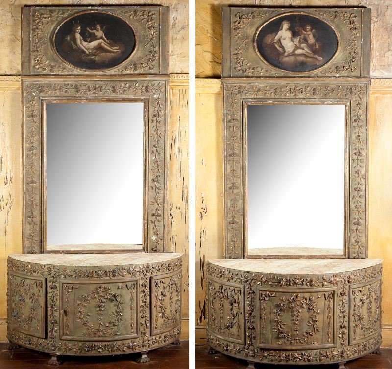 85: Pair of Italian Commodes with Matching Trumeau