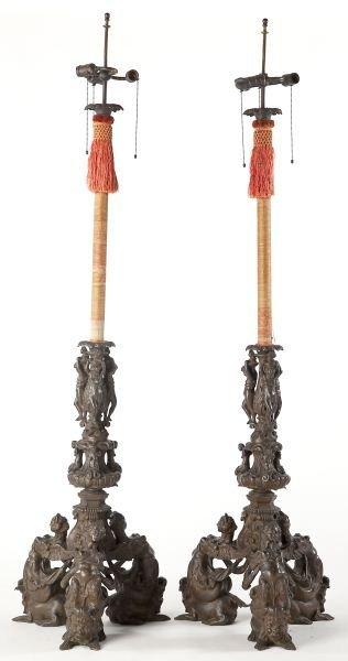 86: Pair of Italian Renaissance Bronze Floor Lamps