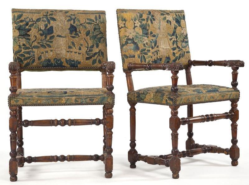 87: Pair of Italian Renaissance Open Arm Chairs