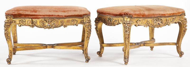 88: Pair of Louis XV Style Gilt Wood Benches