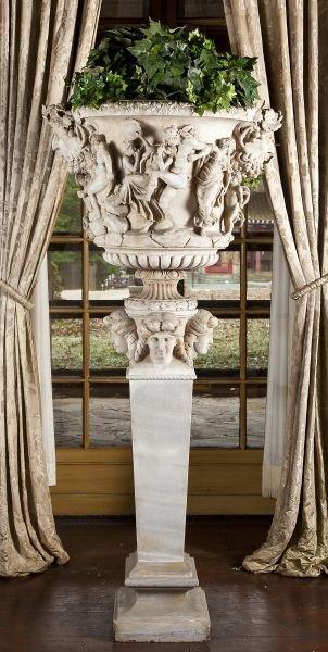 92: Pallazo Carrara Marble Urn and Pedestal