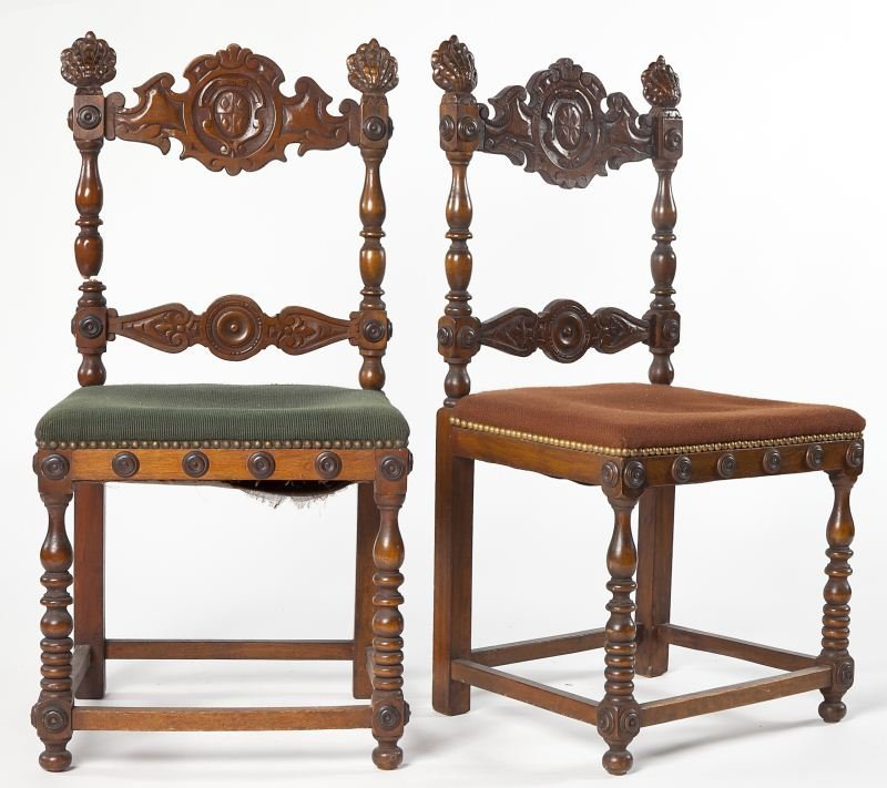 96: Two Spanish Style Carved Side Chairs