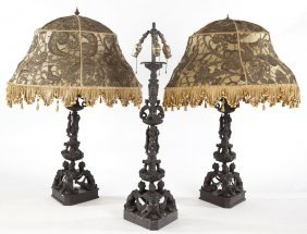 Three Italian Renaissance Style Bronze Lamps