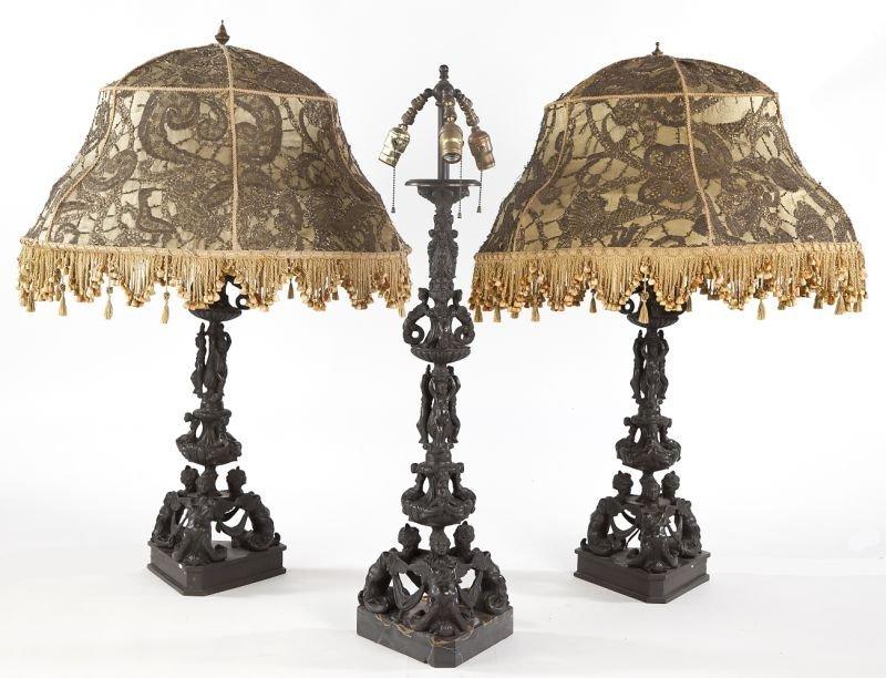 97: Three Italian Renaissance Style Bronze Lamps