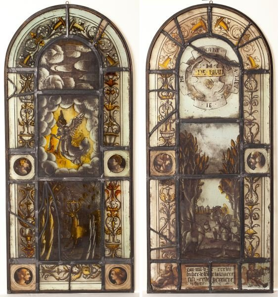 98: Pair of German Stained and Leaded Glass Panels