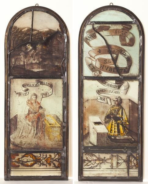 99: Pair of German Stained Glass Panels