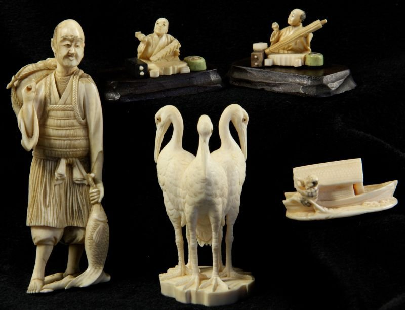 102: Group of Five Japanese Ivory Carvings