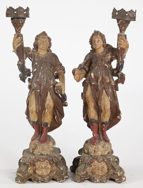 105: Pair of Italian Crusading Angel Figures