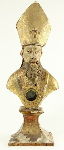 106: Mitered Bishop Reliquary Sculpture