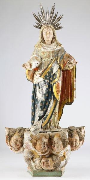 112: Spanish Carved Madonna Statue