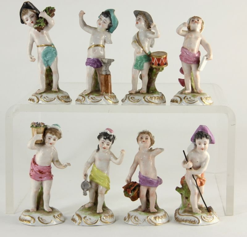 198: Set of Eight Continental Porcelain Cherubs