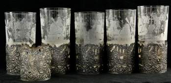 266 Set of Six Sterling Silver Glass Holders