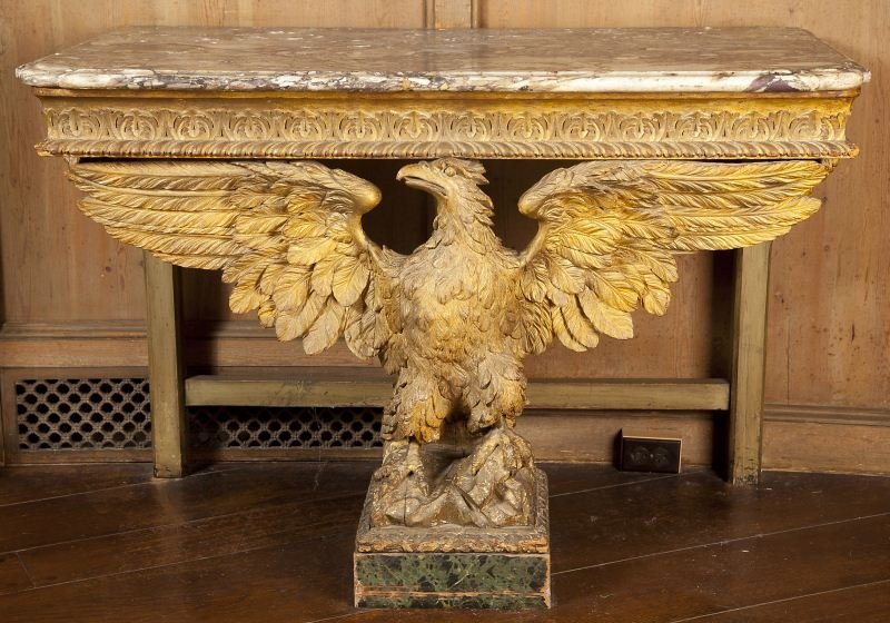274: Napoleonic Gilt Wood Eagle Console Table