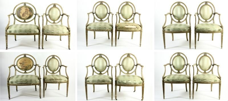 278: Set of (12) Adams Style Painted Dining Chairs