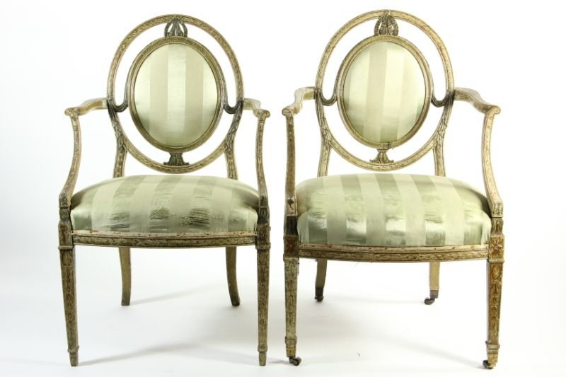 278: Set of (12) Adams Style Painted Dining Chairs - 5