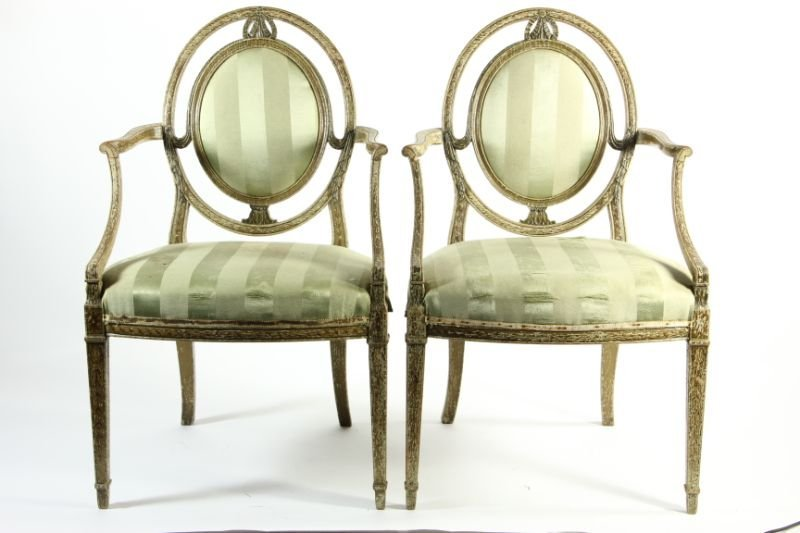 278: Set of (12) Adams Style Painted Dining Chairs - 7
