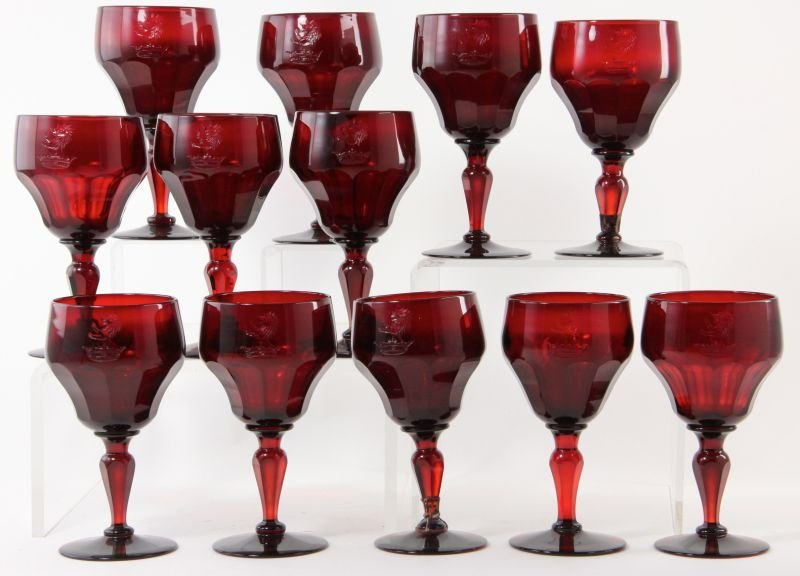 283: Set of (12) Bristol Glass Ruby Red Water Goblets