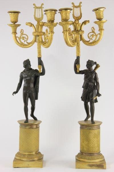 292: Pair of French Empire Gilt Bronze Candelabra