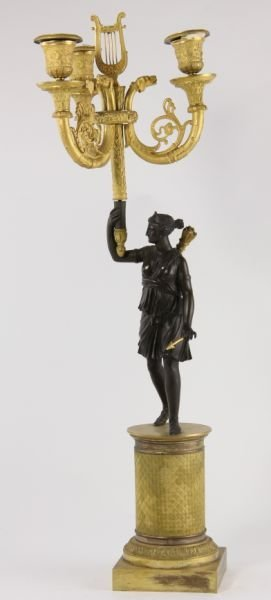 292: Pair of French Empire Gilt Bronze Candelabra - 2