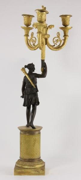 292: Pair of French Empire Gilt Bronze Candelabra - 3