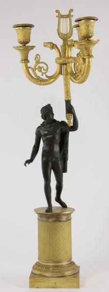 292: Pair of French Empire Gilt Bronze Candelabra - 5