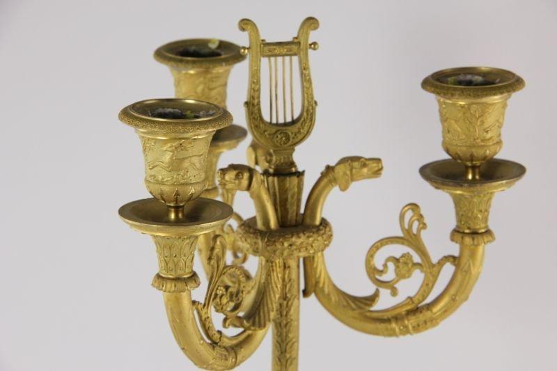 292: Pair of French Empire Gilt Bronze Candelabra - 7