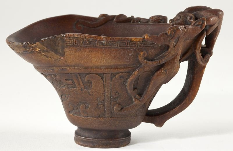 463: Chinese Rhinoceros Horn Chilong Libation Cup
