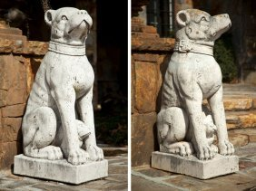Two Italian Cast Stone Statues Of Sitting Dogs