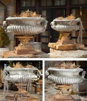605: Set of Four Regency Style Cast Stone Urns