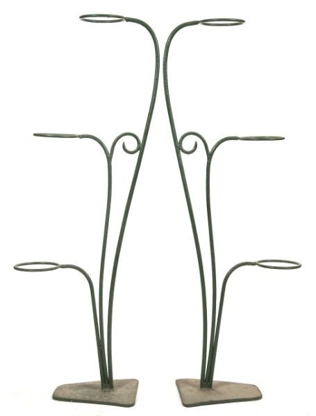 611: Pair of Wrought Iron Flower Pot Holders