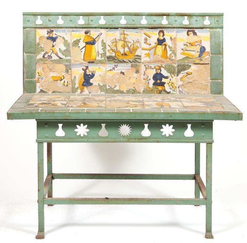 613: Italian Tile Garden Bench