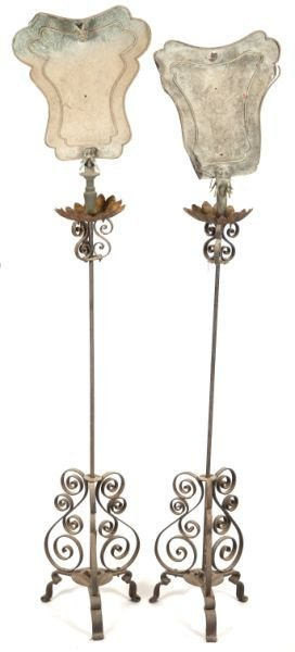 614: Pair of Chinese Wrought Iron Garden Lamps