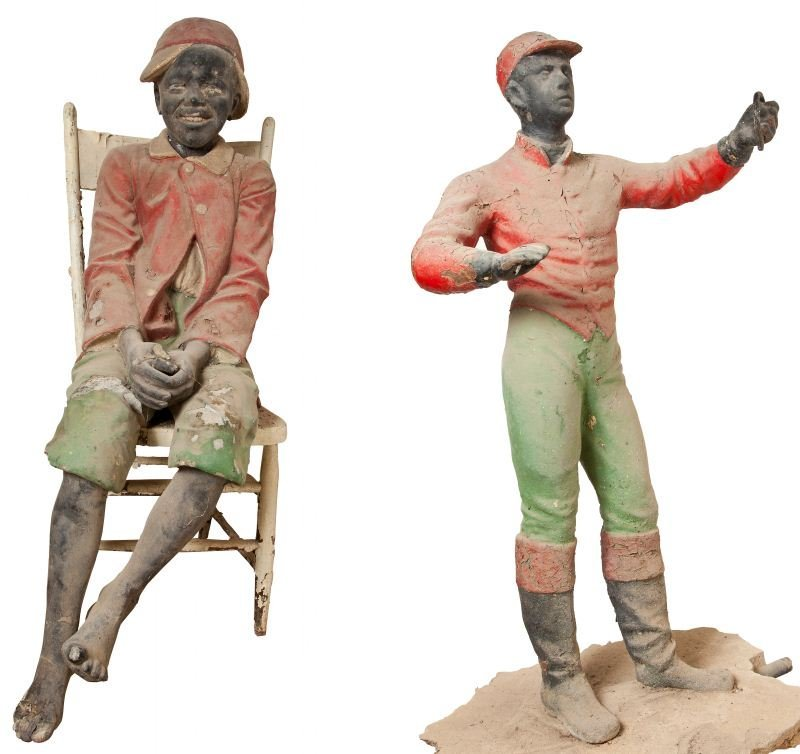 622: Two Cast Concrete Black Americana Figures