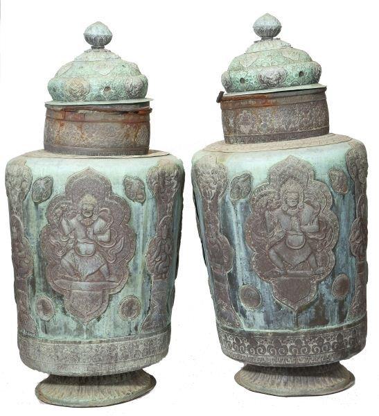 625: Pair of Indonesian Copper Temple Jars