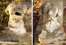 Pair Of Italian Carved Stone Dog Heads