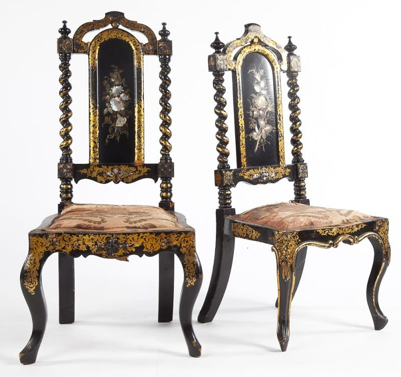 694: Pair of English Black Lacquered Low Side Chairs