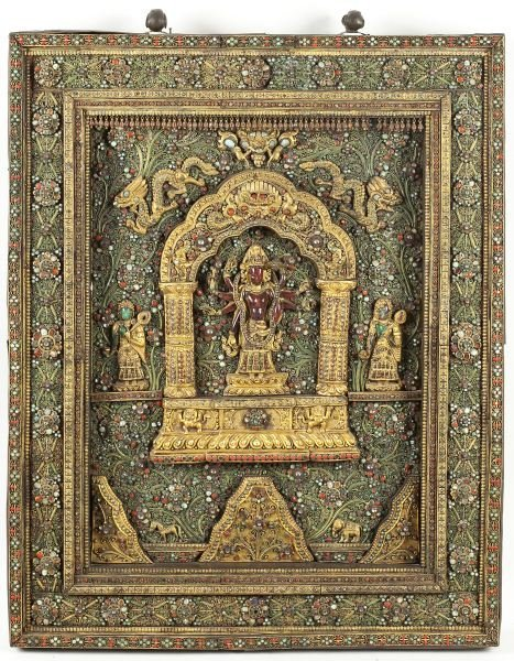 700: Rare Nepalese Jeweled Wall Sculpture