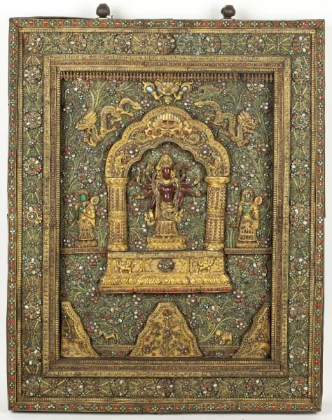 700: Rare Nepalese Jeweled Wall Sculpture - 2