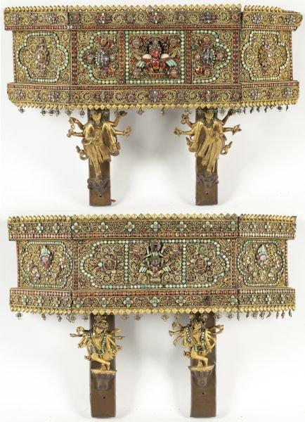 701: Pair of Nepalese Jeweled Wall Brackets