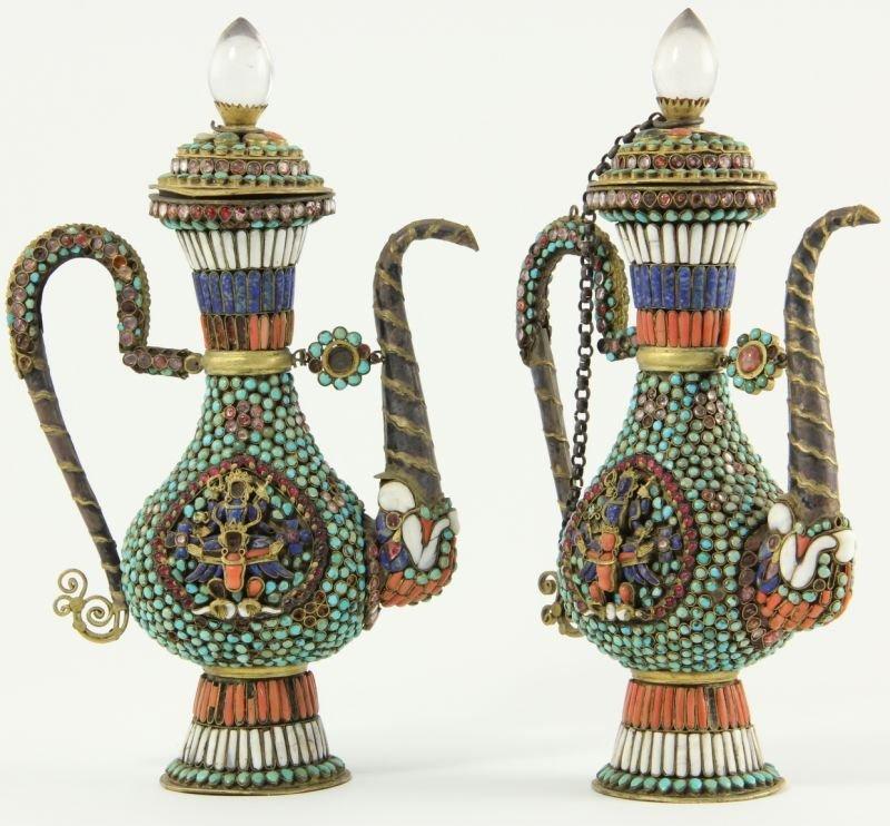 702: Pair of Nepalese Jeweled Ewers