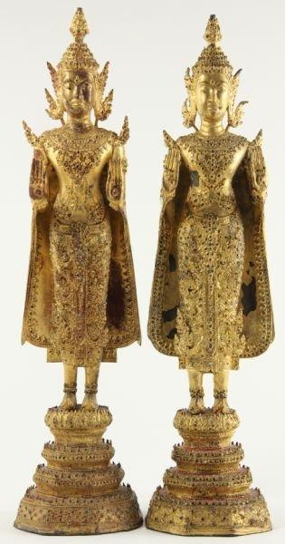 703: Pair of Thai Gilt Metal Standing Bodhisattva