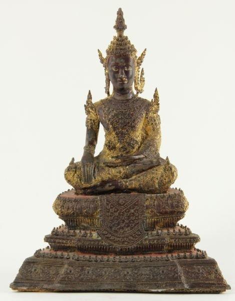 704: Thai Gilt Metal Seated Buddha