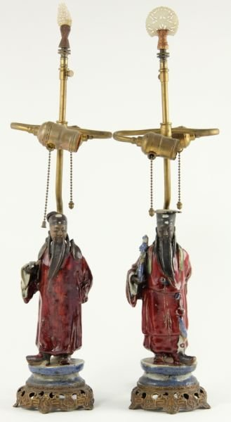 711: Pair of Japanese Figural Table Lamps