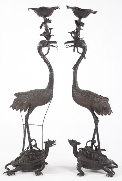 714: Pair of Japanese Bronze Floor Sculptures