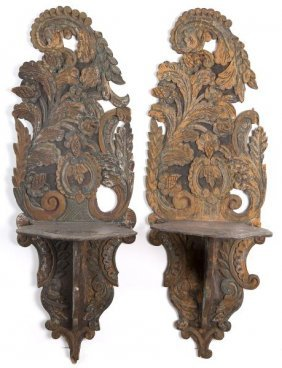 Pair Of French Carved Wood Hanging Shelves