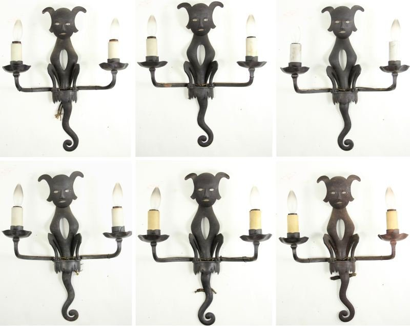 772: Set of Six Bagues Cat Shaped Wall Sconces