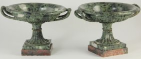 Pair Of Thessalonian Green Marble Compotes