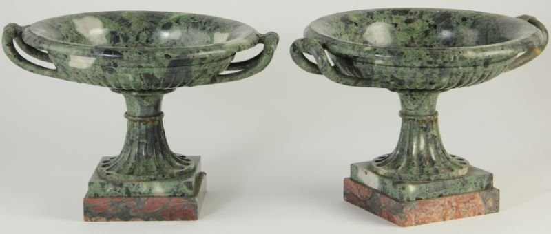 786: Pair of Thessalonian Green Marble Compotes