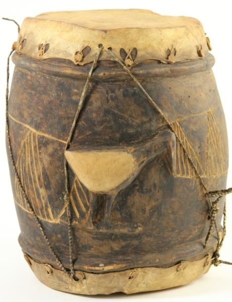 791: African Wooden Drum with Hides
