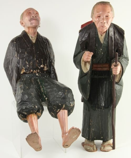 805: Pair of Carved and Painted Japanese Pilgrims